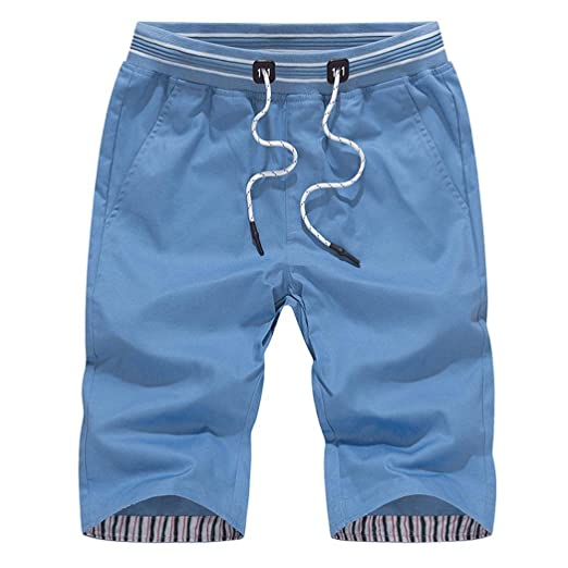 1d6f117e4c Perman Men's Casual Cotton Knee-Length Slim Beach Swim Trunks Quick ...