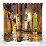 SCOCICI Fun Shower Curtain,Gothic Decor,Gothic Ancient Stone Quarter of Barcelona Spain Renaissance Heritage Gothic Night Street Photo,Cream,Polyester Shower Curtains Bathroom Decor Set with Hooks