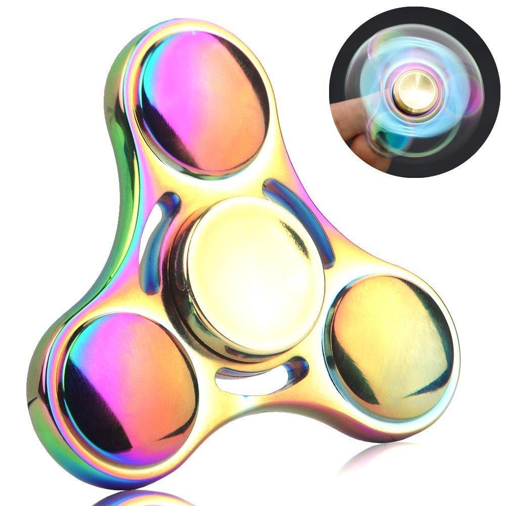 Spinner de mano Fidget Hand Spinner QcoQce S1 Arco iris colorido EDC Tri Fidget Mano Spinning Toy Tiempo asesino Reductor de estrés de alta velocidad Focus Toy Regalos Perfecto para ADD, ADHD, ansiedad, aburrimiento y autismo Adultos Niños ZLWL