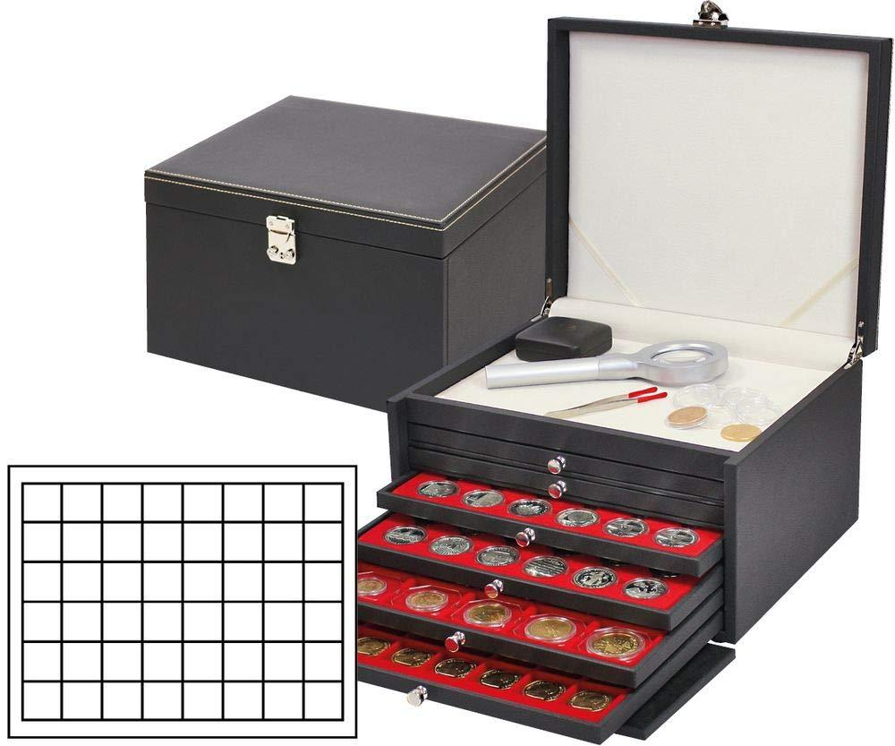 NERA PRESTIGE-Coffret numismatique avec 6 tiroirs et plateaux velours rouge vif pour 288 monnaies/capsules jusqu'à Ø 30 mm et capsules de champagne Lindner