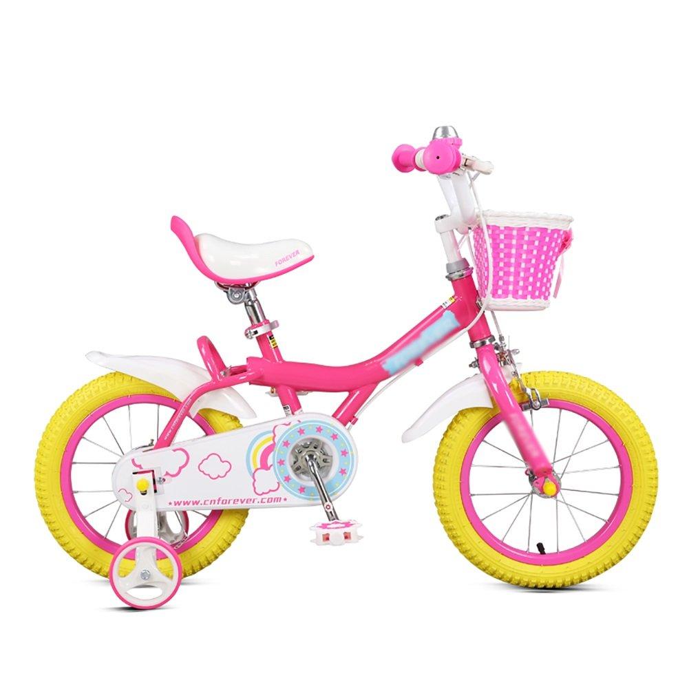 少年少女のベビーカーの自転車の子供の自転車黄色とピンク12 14 16インチ3-8歳の赤ちゃんの学生ペダル自転車 B07DVXK3Y9 14 inch