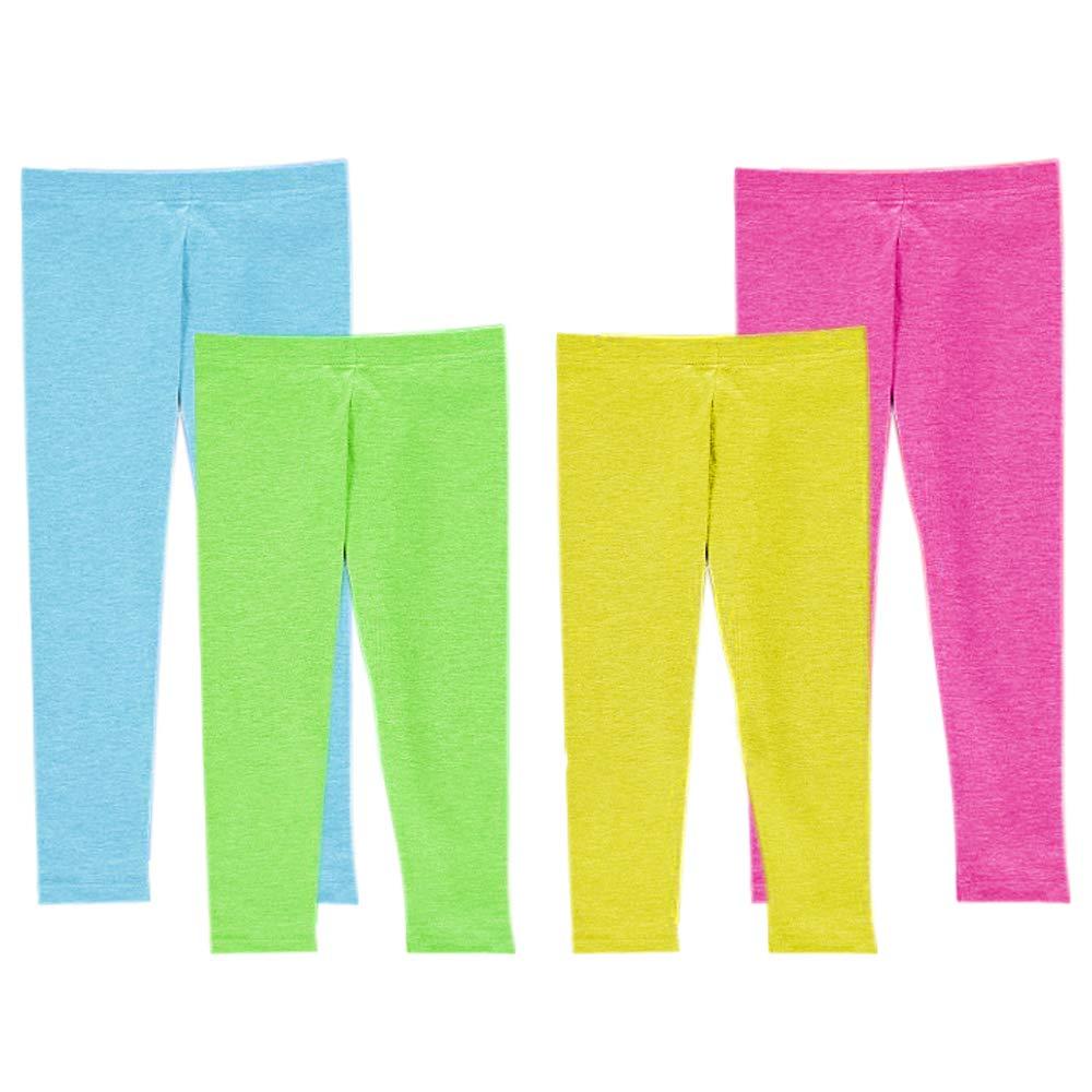 Princess Omalie 4 pc Multicolor Fashion Kids Girls Leggings 2 Capri 2 Long Legging (7-8 Years)