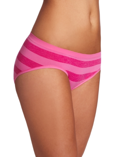 (Barely There Women's Custom Flex Fit Rugby Stripe Hipster Panty Pantie, Phlox Pink,)