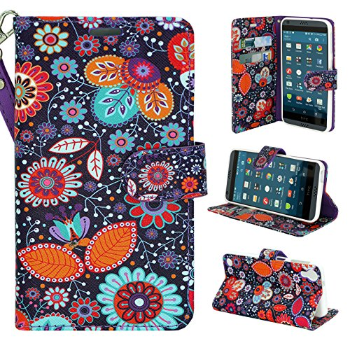 HTC Desire 630 Case, HTC Desire 530 Case - Customerfirst - Wallet Flip Fold Pouch Cover Premium Leather Wallet Flip Case for HTC Desire 630 / 530 FREE Emoji Key Chain and stylus (Little Daisy)
