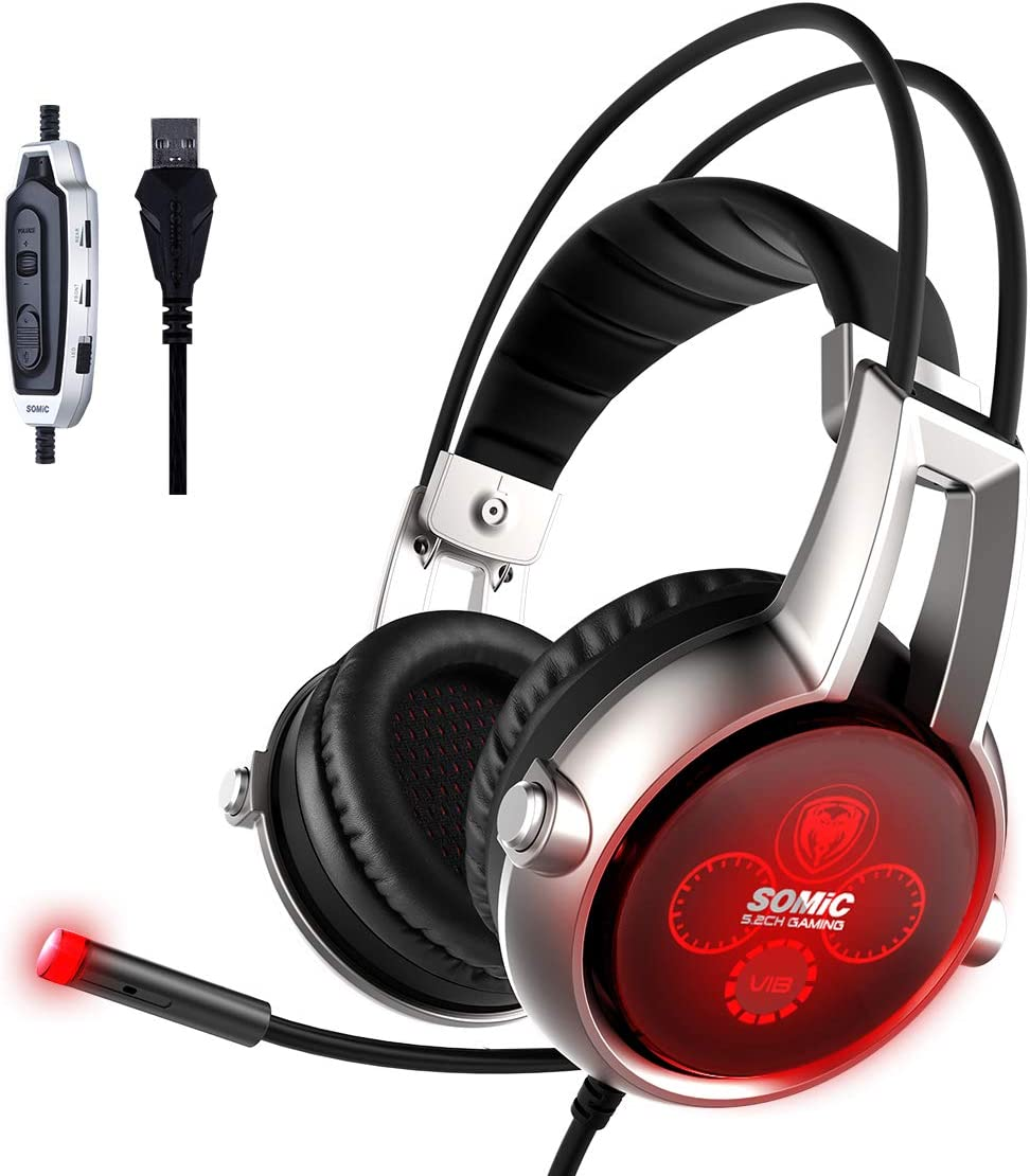 SOMIC E95X Realistic 5.2 Surround Sound USB Gaming Headset Lightweight Over Ear Headphone with Mic,Volume Control,LED Black