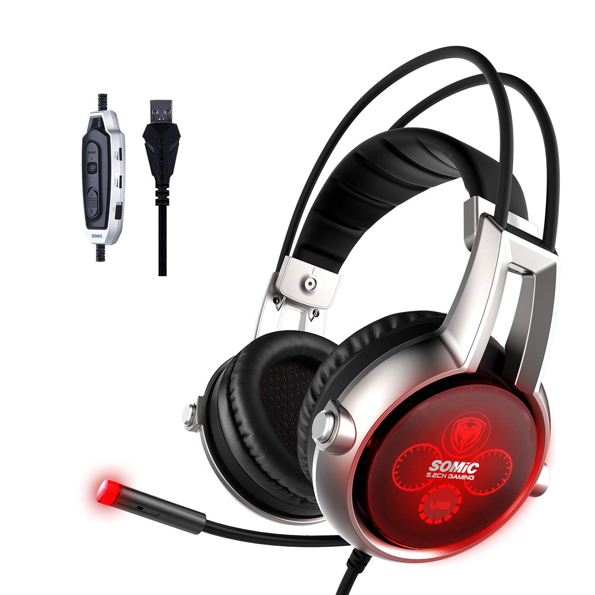CDM product SOMIC E95X Realistic 5.2 Surround Sound USB Gaming Headset Lightweight Over Ear Headphone with Mic,Volume Control,LED(Black) big image