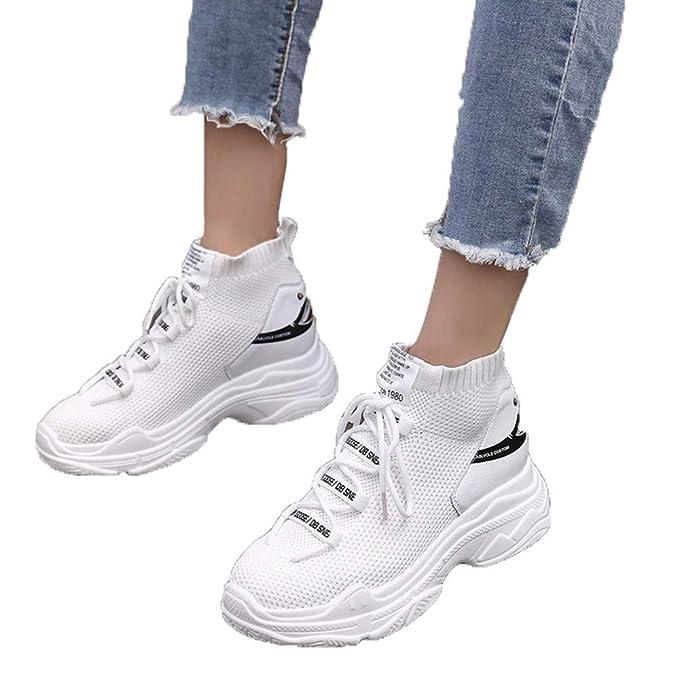 JiaMeng Moda Casual Malla Transpirable Calcetines Zapatos Aumento Zapatos Mujer Gimnasia Ligero Sneakers Zapatillas: Amazon.es: Ropa y accesorios