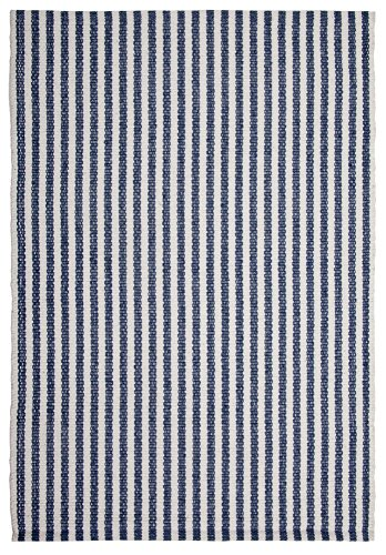 Chester Denim/White Stripe Hand-Woven Eco Cotton Washable Rug- 2'x3′ For Sale
