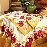 Couleur Nature Pomegranate Tablecloth, 90-inches by 90-inches, Yellow