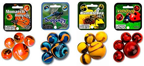 1 Shooter FREE SHIPPING! GLASS MEGA MARBLES *BUTTERFLY* 24 players