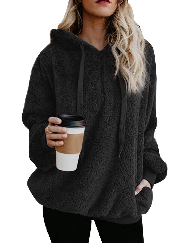 Yanekop Womens Sherpa Pullover Fuzzy Fleece Sweatshirt Oversized Hoodie with Pockets(Black,XL)