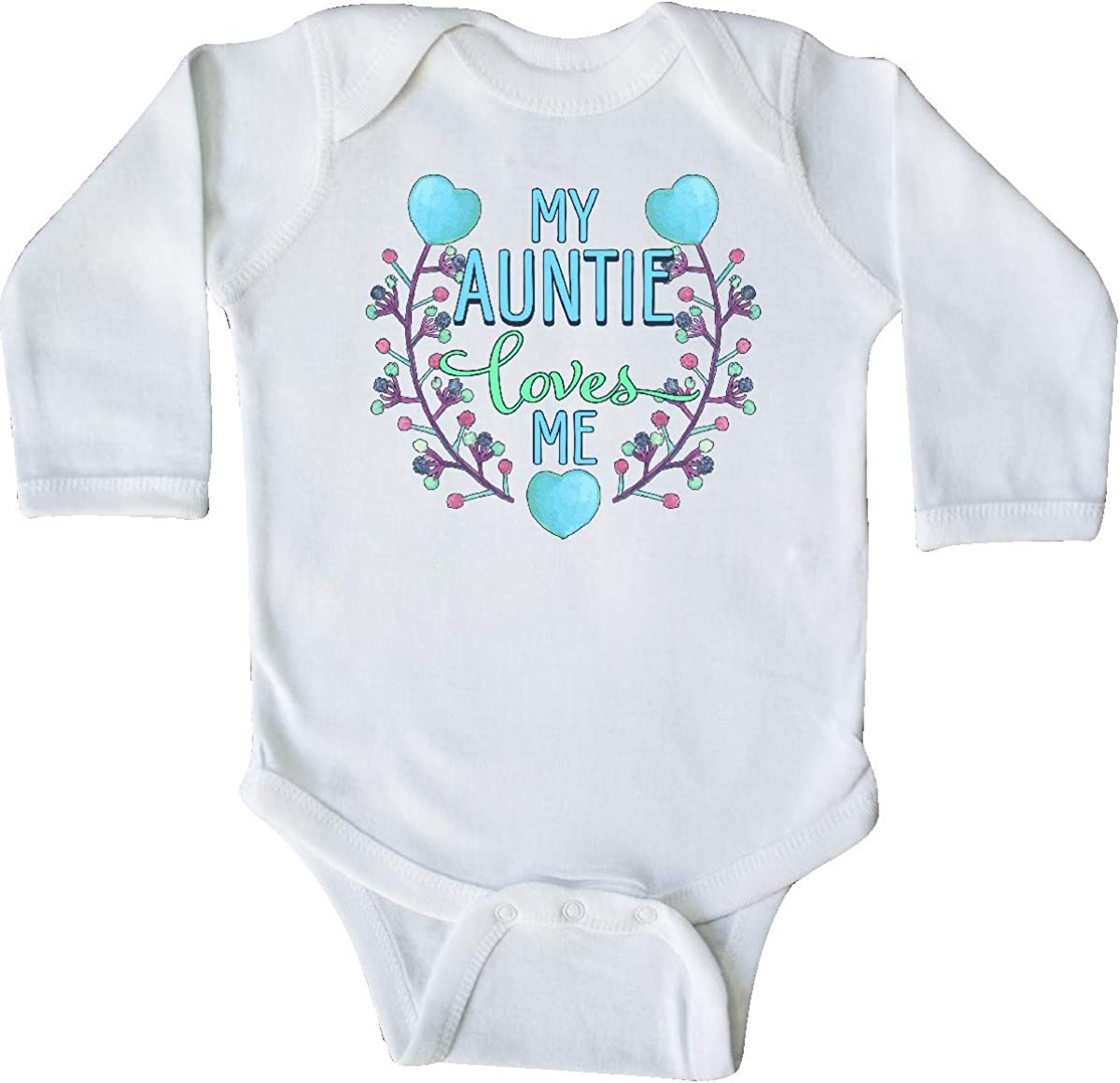 inktastic My Auntie Loves Me Painted Flowers and Hearts Long Sleeve Creeper