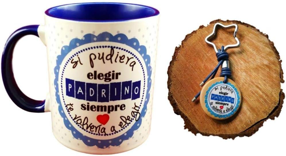Pack Taza Ceramica Y Llavero Madera Frase SI PUDIERA Elegir Padrino Siempre TE VOLVERIA A Elegir Regalo Padrinos