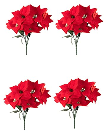 Juvale Red Poinsettia Christmas Decorations - 4-Pack Decorative Flowers  with Stem, Artificial Plant - Amazon.com: Juvale Red Poinsettia Christmas Decorations - 4-Pack