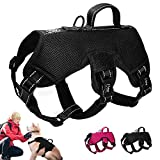 Didog Multi-Use Escape Proof Dog Harnesses for Escape Artist Dogs,Reflective Adjustable Padded Sports Vest Harlter for Medium Large Dogs Hiking Walking Trails,Black,L Size