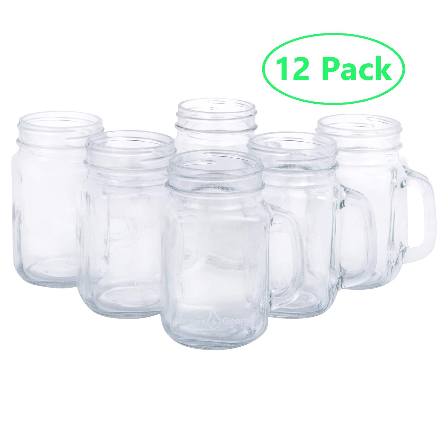 16oz Glass Mason Jar Drinking Cups/Mugs with Handle - Great for Gifts (12 Pack) by Jervis & George