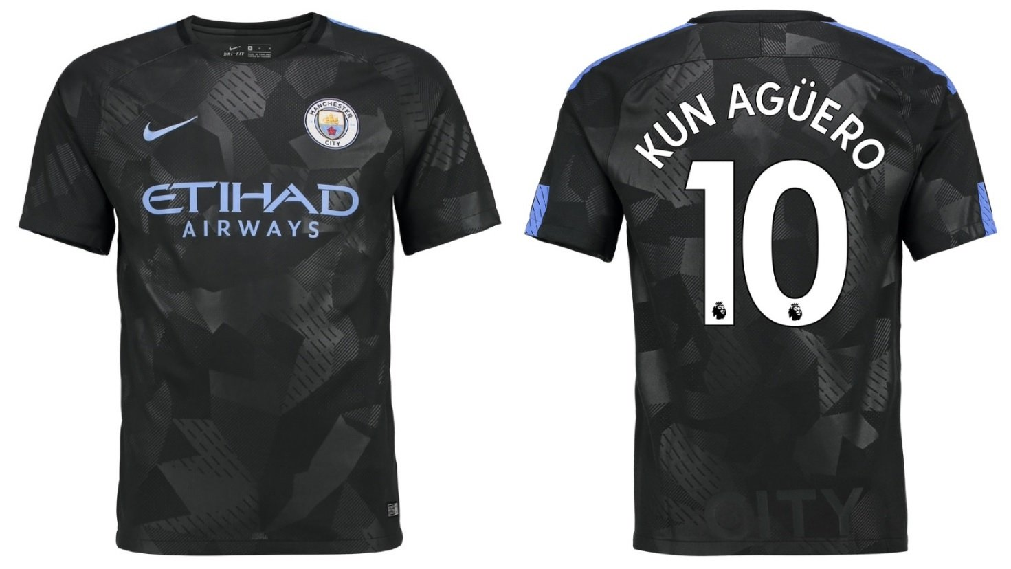 Trikot Kinder Manchester City 2017-2018 Third - Aguero 10