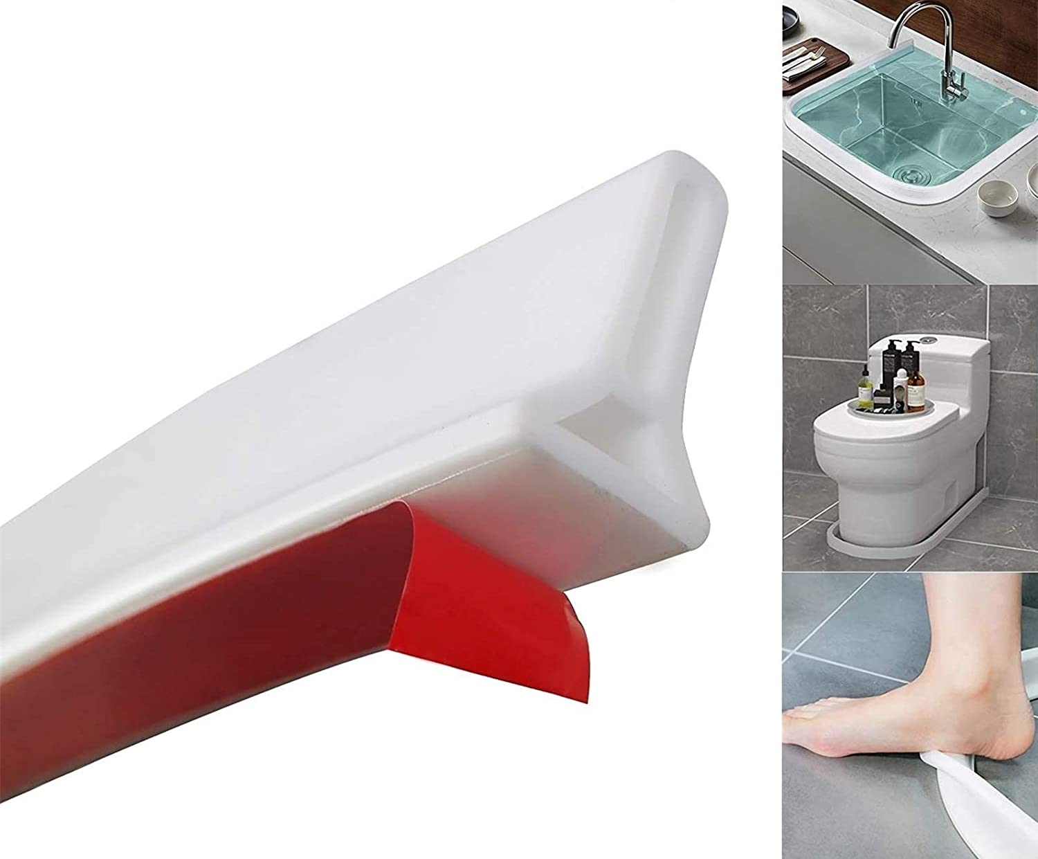 96 Inch Collapsible Shower Threshold - Water Dam - Water Flood Barrier - Water Stopper for Shower - Shower Floor Water retaining Strip, Shower Protection System, Keeps Water Inside Threshold