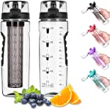 Opard Fruit Infuser Water Bottle with Time Marker, 30 oz BPA Free Infusion Daily Water Bottles Track Water Intake with…