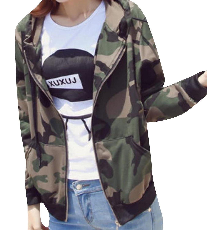 xiaokong Women's Camo Stylish Long Sleeve Jacket Trench Coat