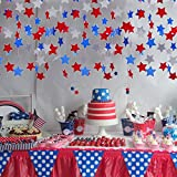 Party Decoration, Patriotic Day 4th July,Red Blue and Silver Star Streamers Patriotic Hanging Stars, Door Decoration, July 4th Party Birthday (2String for 28Feet) 66 Stars