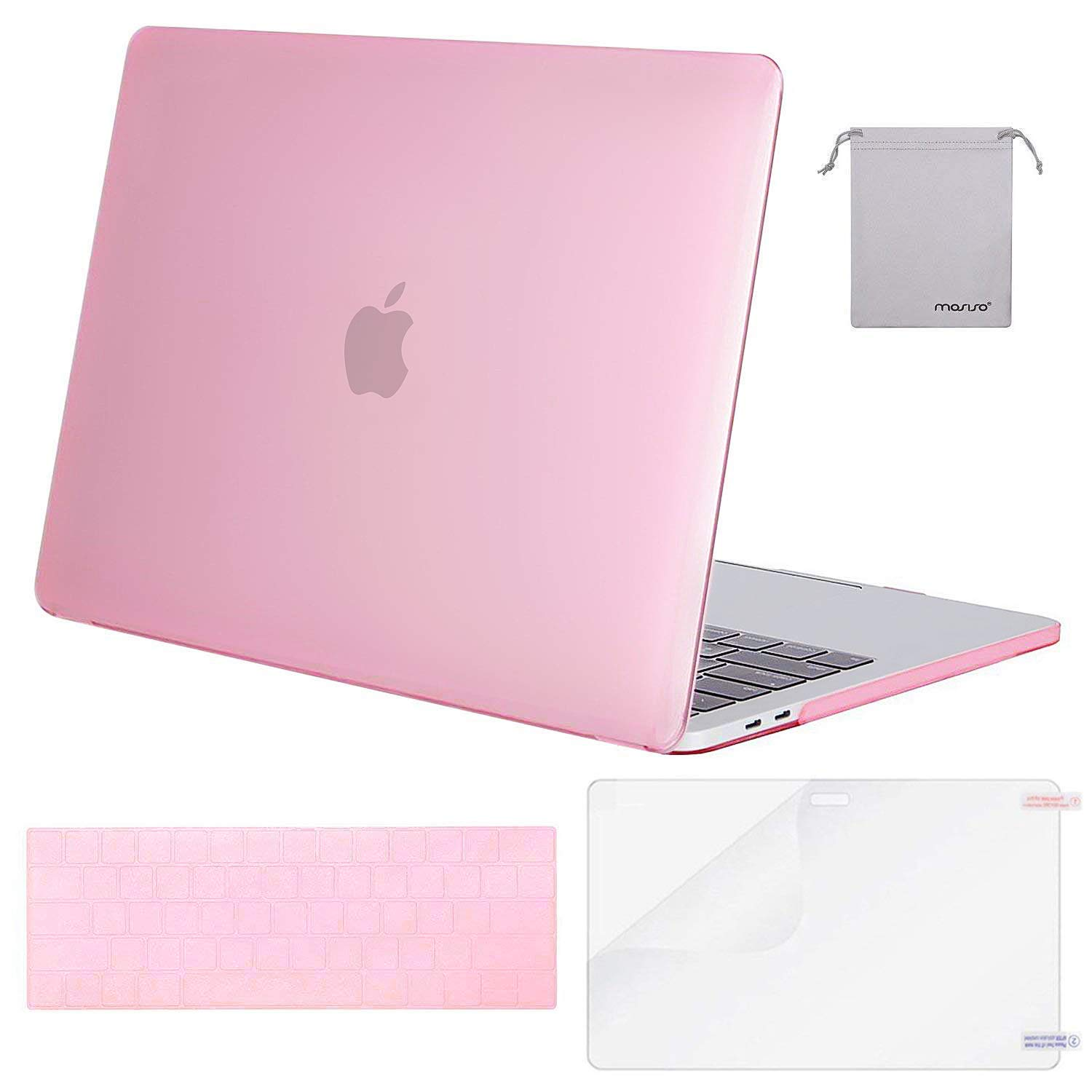 MOSISO MacBook Pro 13 Case 2019 2018 2017 2016 Release A1989 A1706 A1708, Plastic Hard Shell & Keyboard Cover & Screen Protector & Storage Bag Compatible Newest MacBook Pro 13 Inch, Pink
