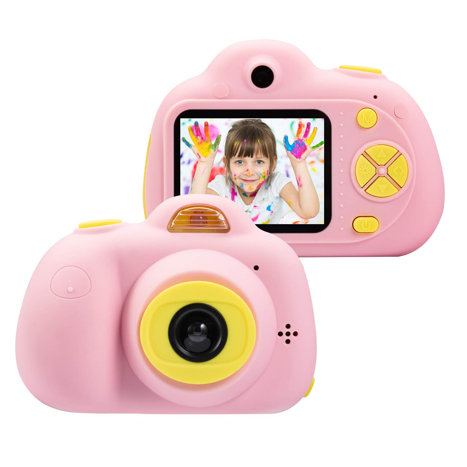 omzer Kids Camera Gifts for 4-8 Year Old Girls, Shockproof Cameras Great Gift Mini Child Camcorderr for Little Girl with Soft Silicone Shell for Outdoor Play,Pink(16GB Memory Card Included) by omzer