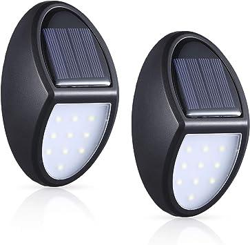 MOSUO Luz Solar Jardín, 2 Pack Luces Solares LED Foco Solar Exterior, 10 LED Lámpara Solar de P...