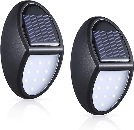 MOSUO Luz Solar Jardín, 2 Pack Luces Solares LED Foco Solar Exterior, 10 LED Lámpara Solar de Pared, Iluminación de Seguridad con Sensor crepuscular IP65 Impermeable para Patio, Garaje, Camino: Amazon.es: Hogar