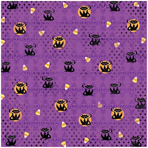(KAREN FOSTER Design Scrapbooking Paper, 25 Sheets, Scary Cats, 12 x)