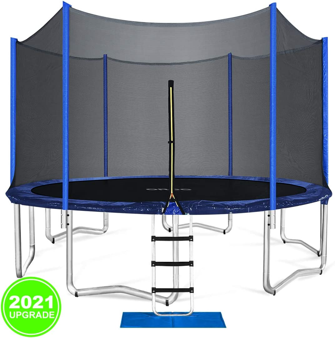 ORCC Trampoline New Upgrade Outdoor Trampoline Maximum Weight Capacity 400LBS for Kids Adults with Safety Enclosure Net Wind Stakes Rain Cover and T-Hook, Backyard Trampoline 15 14 12 10ft