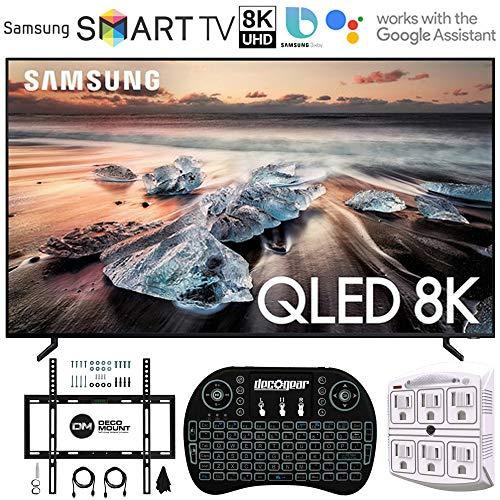 Samsung QN82Q900RB 82″ Q900 QLED Smart 8K UHD TV (2019 Model) – (Renewed) with Flat Wall Mount Kit Bundle for 45-90″ TVs + 2.4GHz Wireless Backlit Keyboard Smart Remote + 6-Outlet Surge Adapter