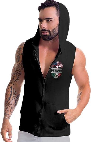 BB/&YYY American Grown Mexican Roots-3 Mens Sleeveless Full Zip Hoodie Sweatshirt Active Workout Tank Top