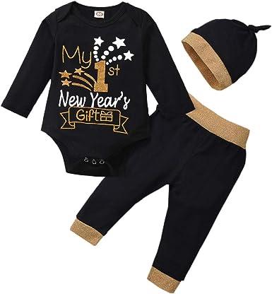 Newborn Baby Boy Girl Winter Long Sleeve Romper Tops Hat Outfits Set Pants