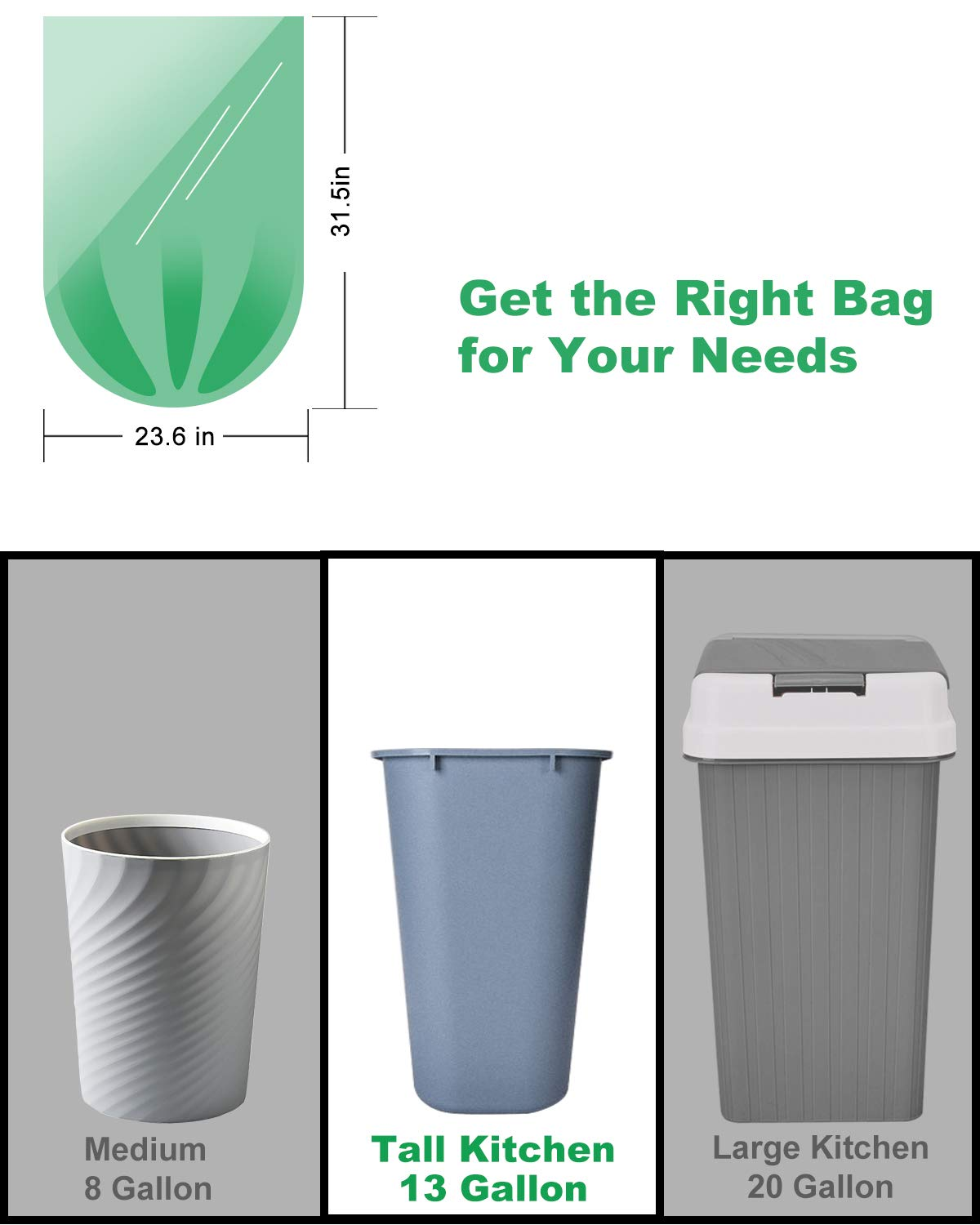 AYOTEE Tall Kitchen Trash Bags-13-15 Gallon Compostable Garbage Trash bags, Heavy Duty Unscented 1.18Mils 55 Liter Rubbish Can Liners for Kitchen Garden Home