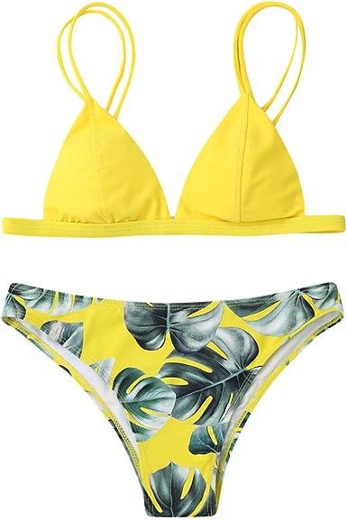 Fossen Bikinis Mujer 2020 Brasileños Push up - Estampado de Hojas Traje de Baño de Dos Piezas, Bañador de Playa: Amazon.es: Ropa y accesorios