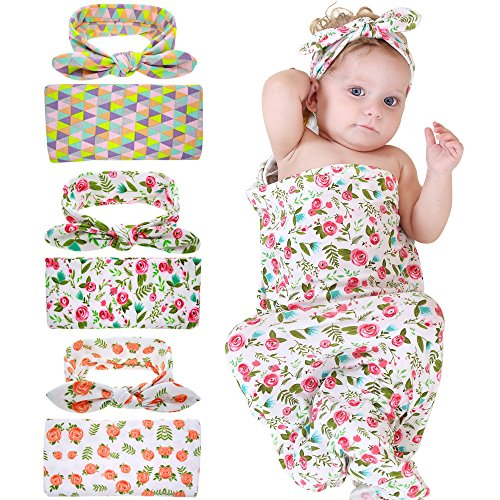 Bigface Up Set of 1 or 3 Swaddle Sack,Newborn Baby Sleep Blanket With Headband 3...