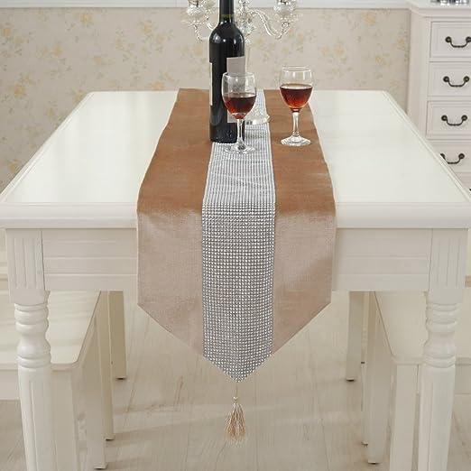 Camino de mesa moderno con diamantes de imitación y borlas de ...