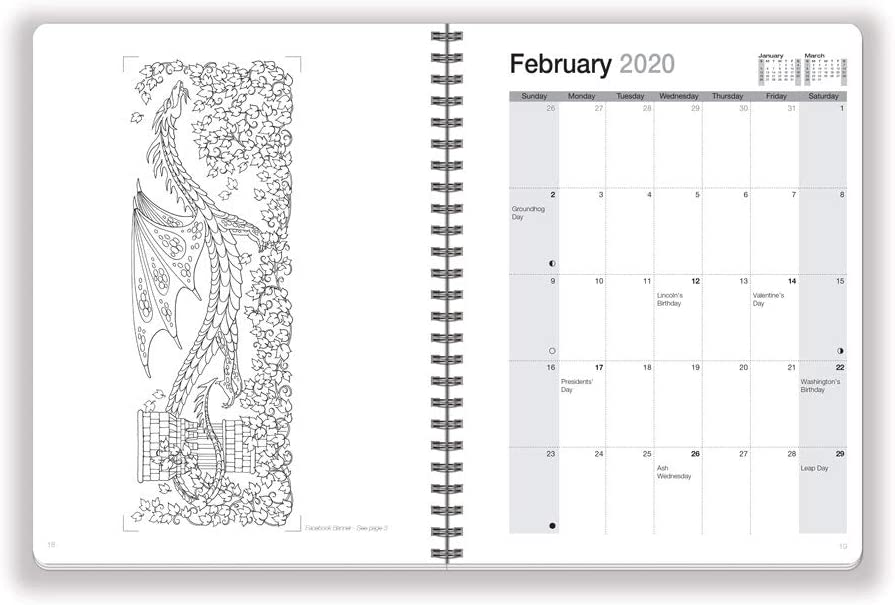 Dec 6.625 x 9 inches with Fantasy and Fairy Tale Coloring Pages/· Jan Action Publishing Coloring Day Planner /· 2020 Mythical Enchantments /· Daily and Weekly Scheduling and Goal Planning