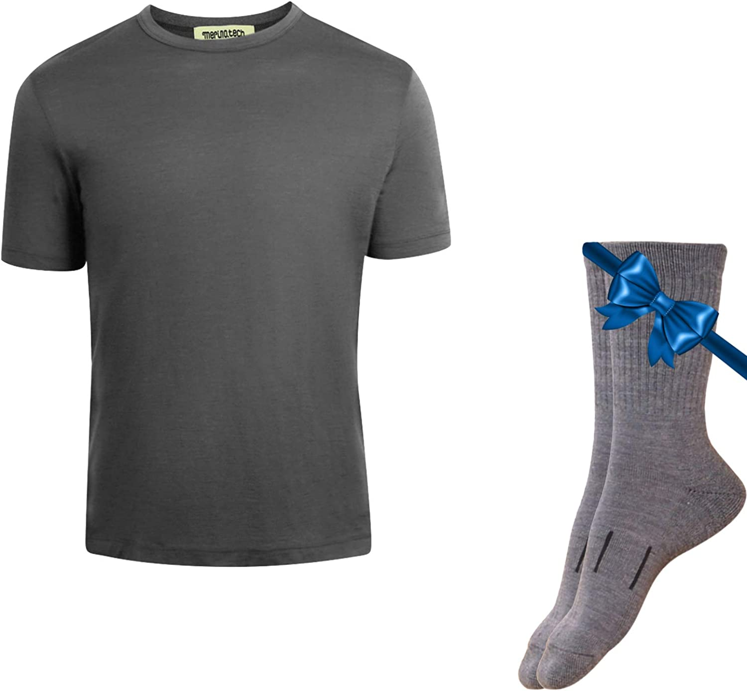 Merino.tech 100% Organic Merino Wool Lightweight Men's Base Layer Thermal T-Shirt + Hiking Wool Socks