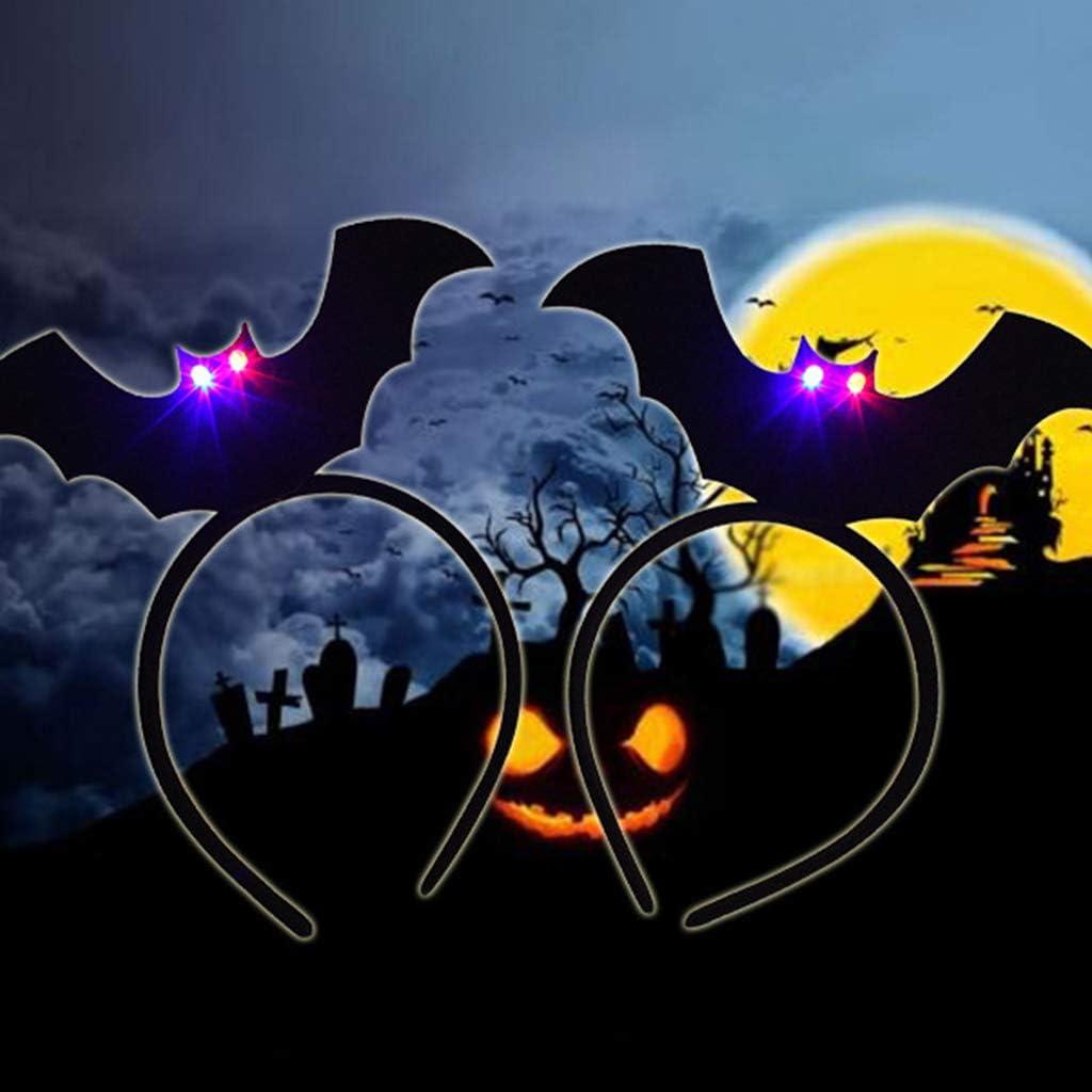1 cerchietto luminoso per Halloween con pipistrello nero decorazione per feste per adulti e bambini 1