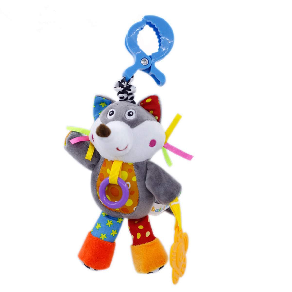 Baby Infant Educational Toys Wolf Plush Animal Kids Car Stroller Hanging Rattles Pram Chew Doll