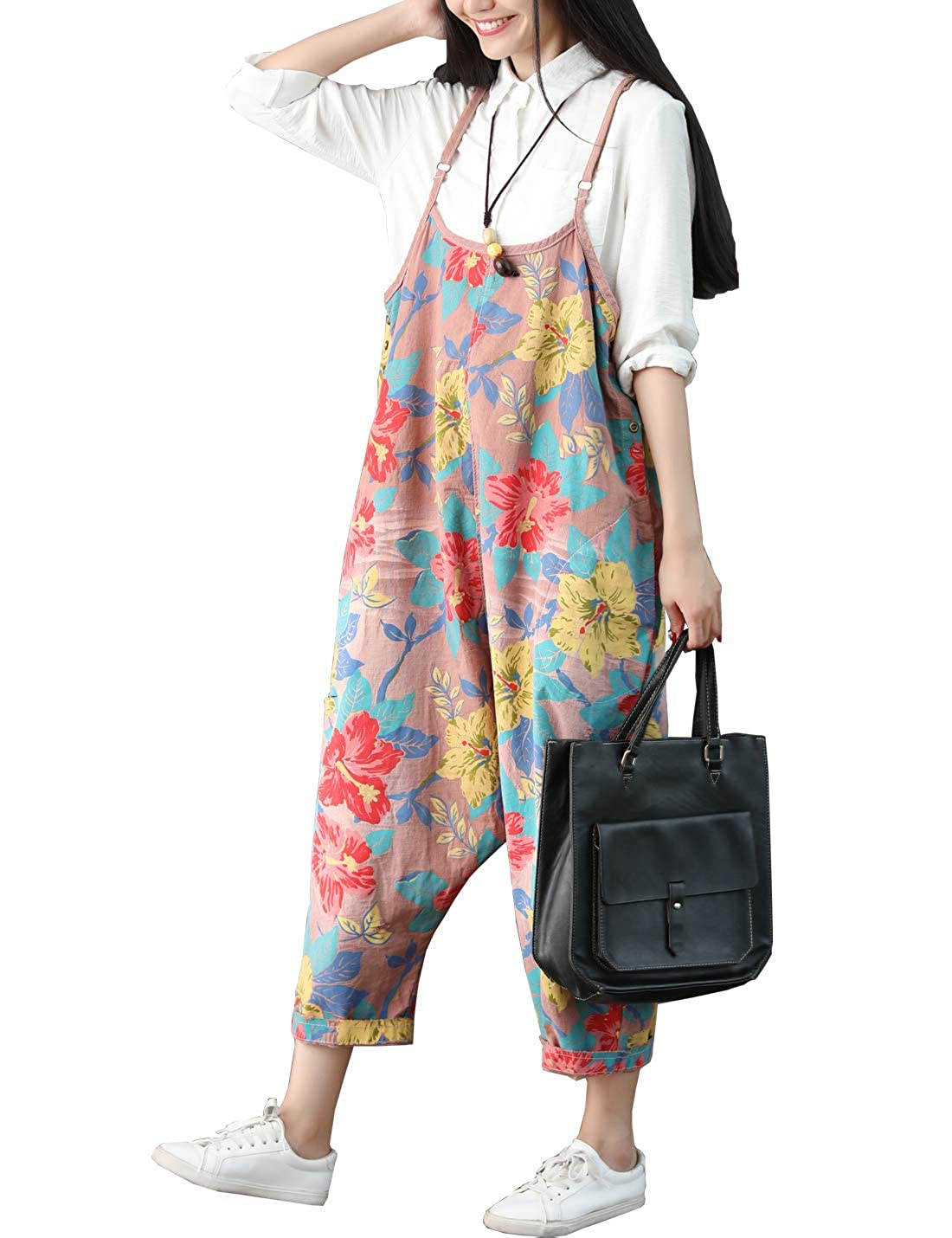 Flygo Womens Loose Baggy Cotton Wide Leg Drop Crotch Cropped Jumpsuit Rompers Overalls