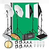 Kshioe 800W 5500K Umbrellas Softbox Continuous Lighting Kit with Backdrop Support System for Photo Studio Product, Portrait a