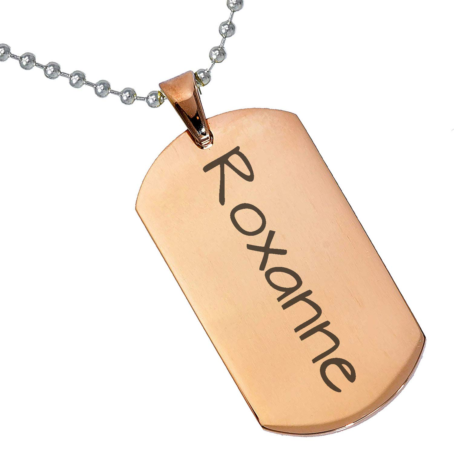 Stainless Steel Silver Gold Black Rose Gold Color Baby Name Roxanne Engraved Personalized Gifts For Son Daughter Boyfriend Girlfriend Initial Customizable Pendant Necklace Dog Tags 24 Ball Chain