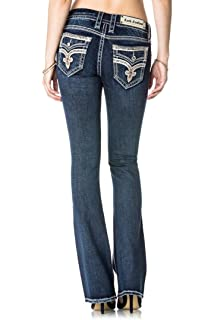 65e1282bb7fa8e Rock Revival Willa B503 Boot Cut Metallic Gold Stitched Fluer De Lis Women's  Jeans