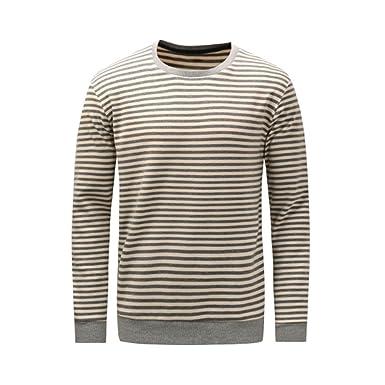 Meijunter Männer Streifen Baumwolle Warm T Shirt Sweatshirt