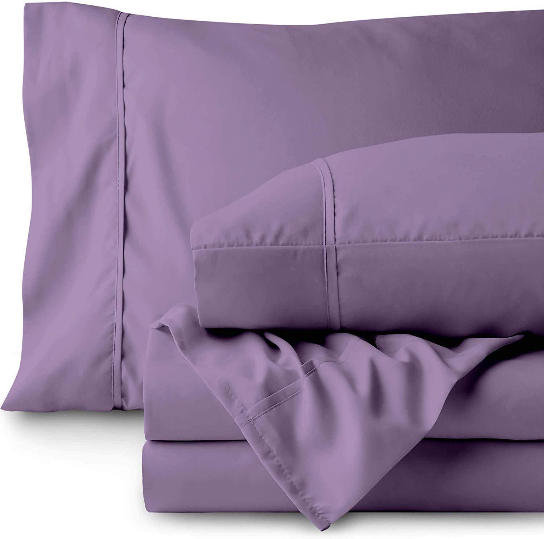 800 Thread Count-5 PCs Split Sheet Set 100% Cotton Bed Sheets Split California King Sheets Sets for Adjustable Beds,Lavender Split Sheet Set Long-Staple Yarns,Fits Mattress Upto 22'' Deep Pocket