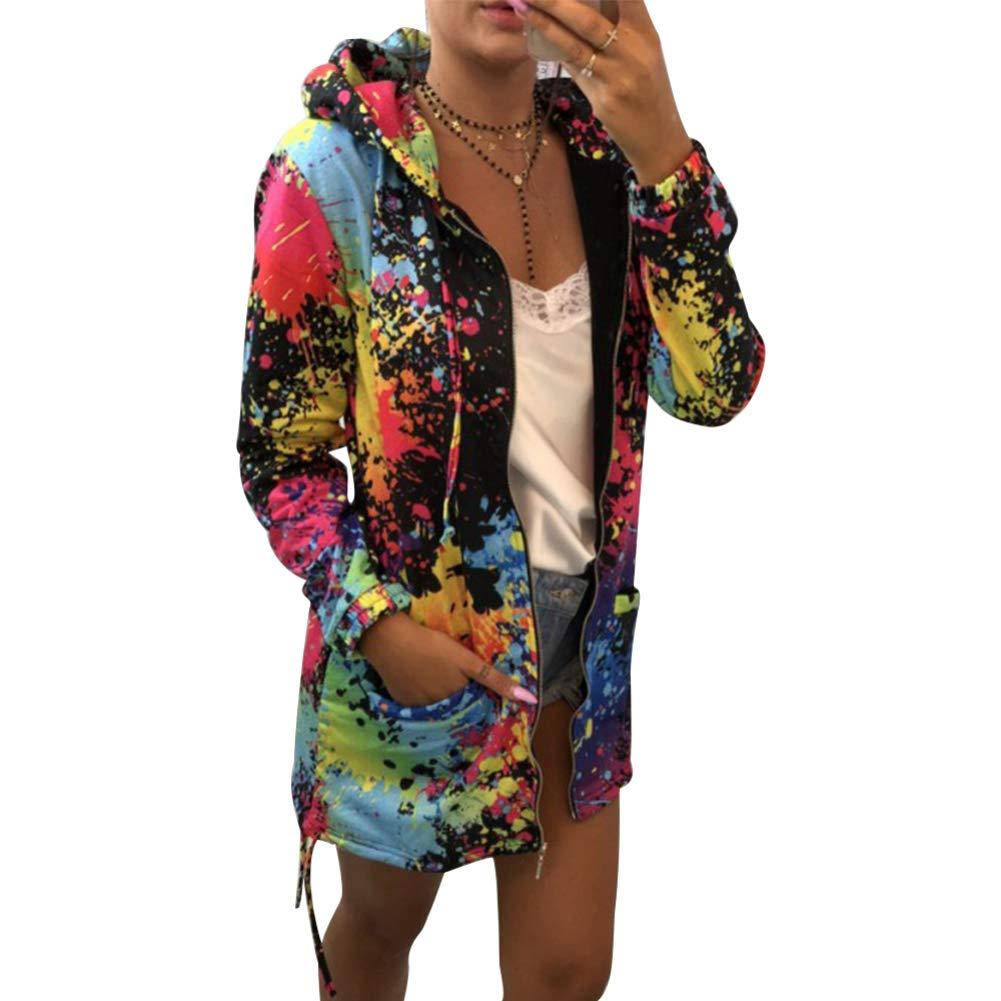 periwinkLuQ Women Fashion Jacket Multicolor Tie Dye Print Long Sleeve Hooded Zipper Coat for Autumn Winter Casual