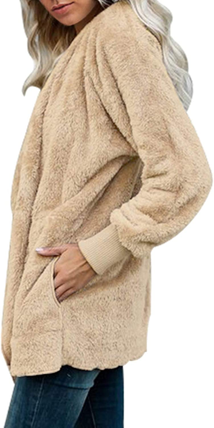 Dokotoo Womens Fuzzy Open Front Hooded Cardigan Jacket Coat Outwear with Pocket